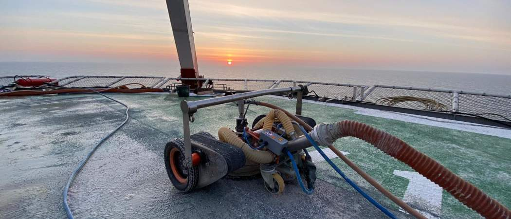Hydro-Jetting of an Offshore Rig Helipad in the North Sea